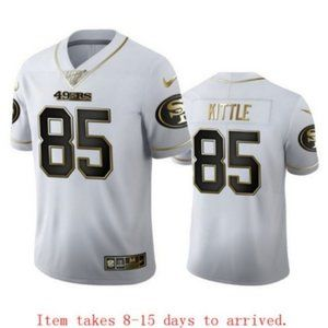 49ers #85 George Kittle White Golden Jersey 100th
